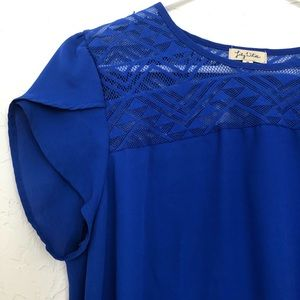 Lily White Blue Short Sleeve Blue Blouse